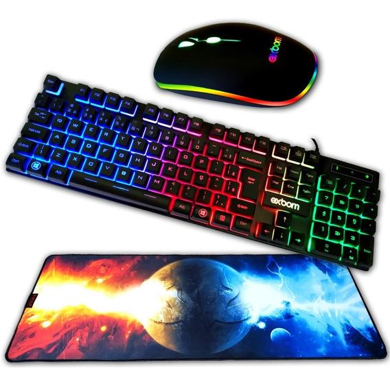 Teclado Gamer Com Leds Mouse Gamer Com Leds Mousepad 80x30 Cm