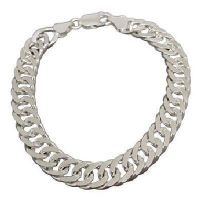 Pulseira Masculina Em Prata 925 Maciça Elo Grumet Duplo 8 Mm