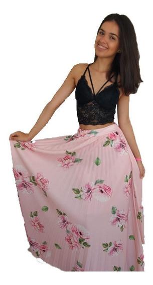 Saia Feminina Longa Plissada Social Chifon Estampada Floral Comprida Estampa De Flores Roupas Femininas Casuais Moda