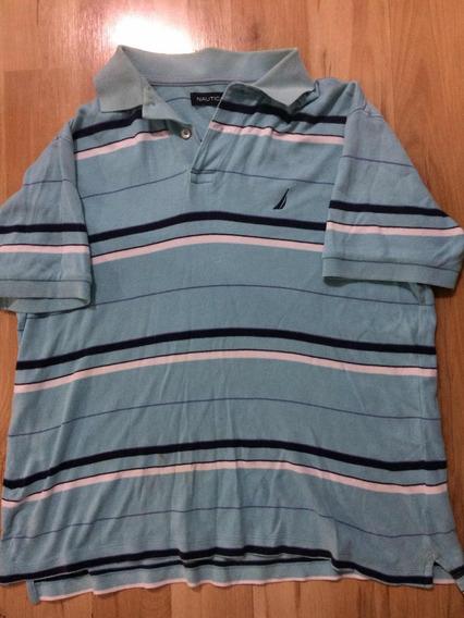 Camisa Tipo Polo Náutica Azul Talla S