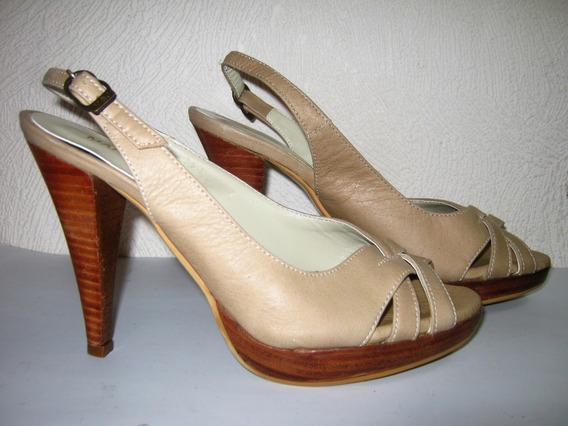 Zapatos Cuero Beige Con Plataforma Mary & Joe N.38