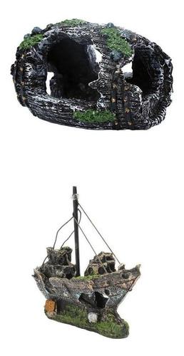 Imagen 1 de 12 de Acuario Adorno Naufragio Barco Escultura Pecera Artificial