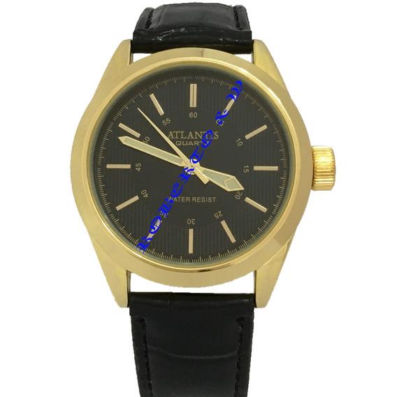Relógio Unisex Atlantis Pulseira Preto Caixa Dourado