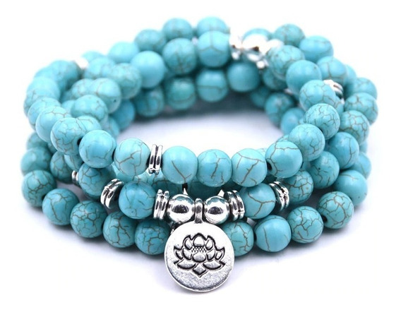 Japamala Turquesa Azul Pedra Natural 108 Contas