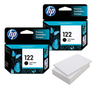Kit De 2 Cartuchos Hp 122 Negro + Resma De Papel