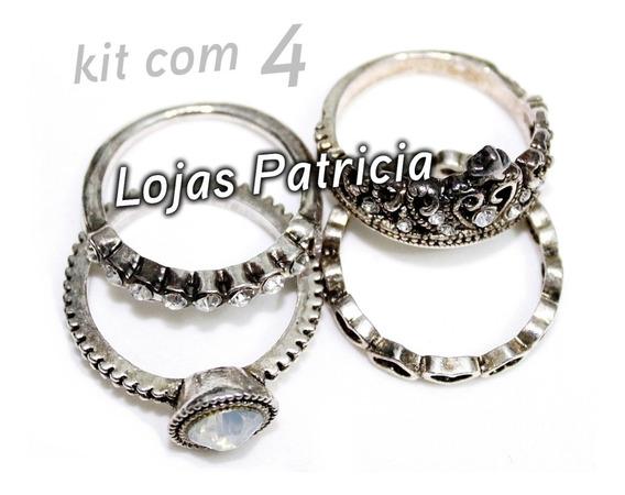 Anel Retrô Prateado 4 Anéis Prata Boho 4 Tipo Pandora Hippie
