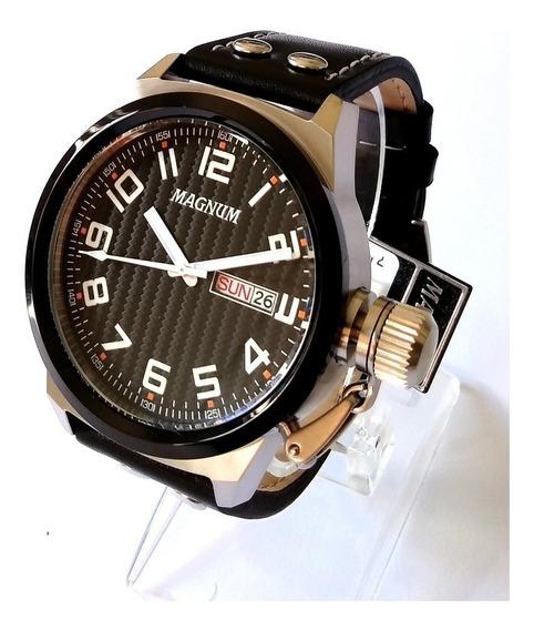 Relógio Masculino Magnum Prateado Pulseira Couro Ma32765t.