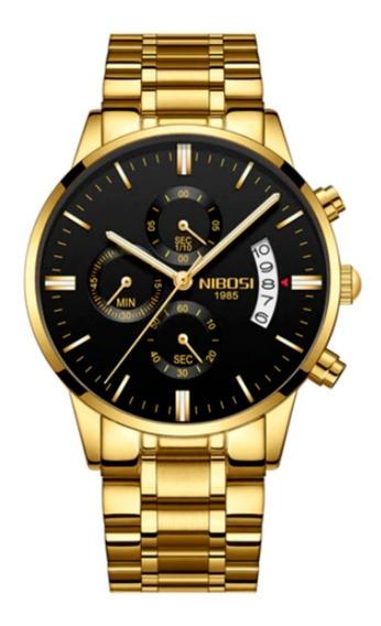 Relógio Blindado Nibosi Dourado Cronógrafo Top Promoção