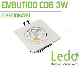 Kit 5 Embutido Cob Spot Quadrado Led 3w Branco Frio - Ledo