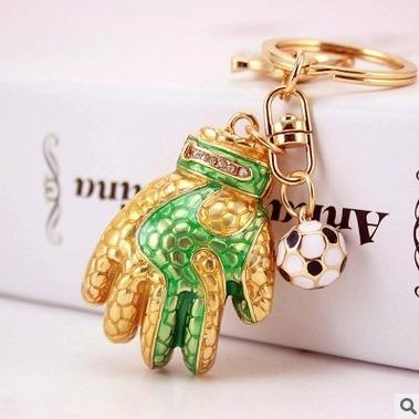Chaveiro Banhado A Ouro 18k - Luva De Futebol (verde)