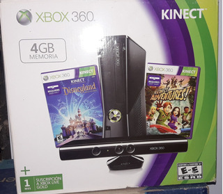Xbox 360 4gb Slim + 2 Joystick Inalambricos + Sensor Kinect