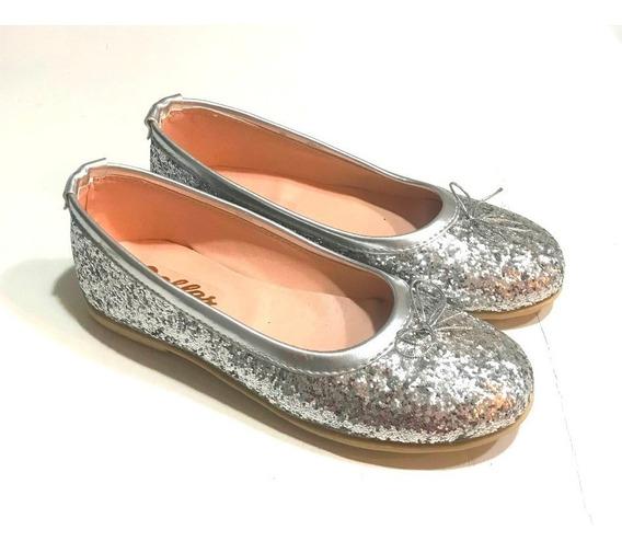 Ballerina Chatita Glitter Plata Para Nenas Y Damas A.glitter