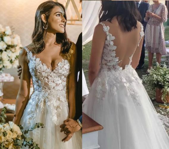Vestido De Noiva Off-white, Romântico, Moderno, Sem Mangas