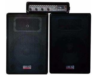 Sistema De Sonido Blg Rmx Consola Y Dos Bafles 12