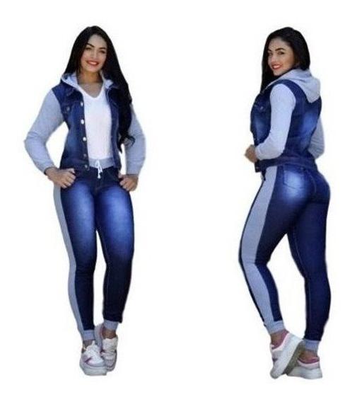 Conjunto Calça Jeans + Jaqueta Jeans Com Moletom E Capuz Top