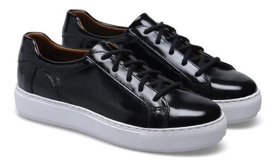 Zapatillas Cuero Charol Negro. Febo 2020.