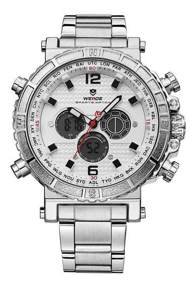 Relógio Masculino Weide Anadigi Wh6305 Prata E Branco