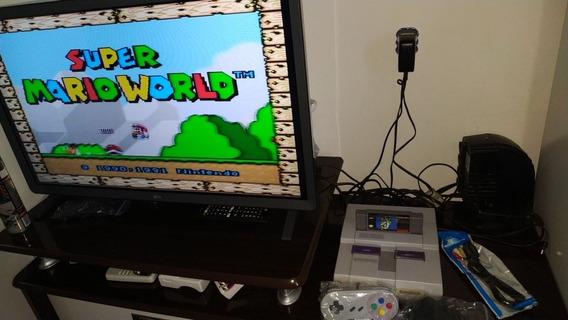 Super Nintendo Impecável Com Mário World Salvando
