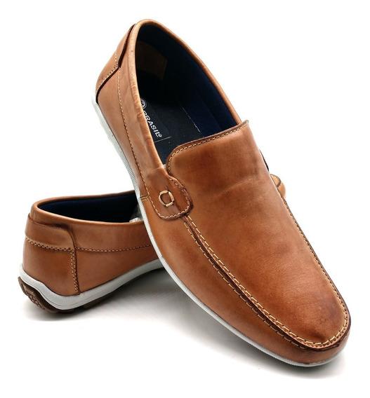 Sapato Masculino Couro Sapatilha Mocassim Confortável Bm 175