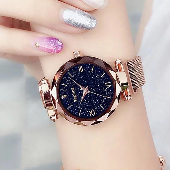 Relógio Feminino Pulseira Magnética Brilhante
