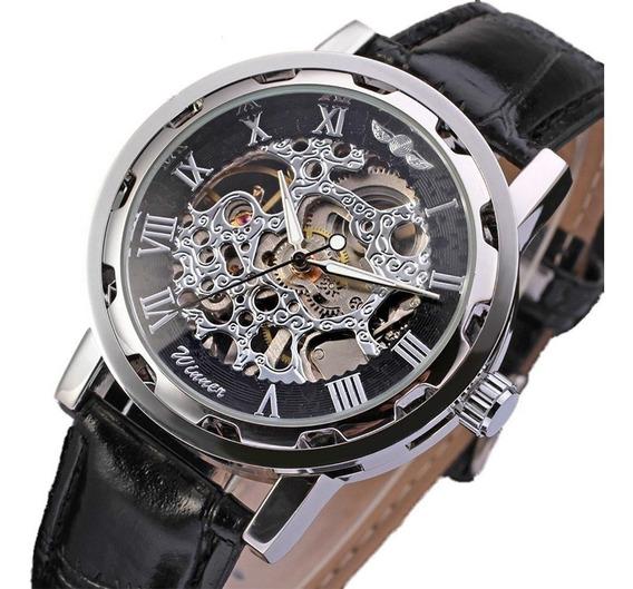 Reloj Esqueleto Auto Cuerda Para Hombre No Necesita Baterías