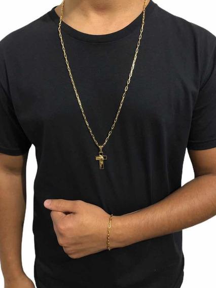 Conjunto 80cm Masculino Banhado A Ouro 18k + 2 Pingente