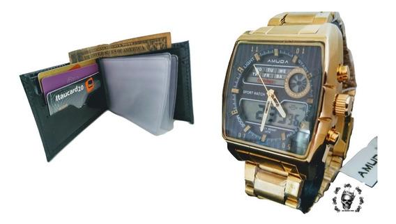 Relógio Masculino Amuda Prova Dágua Luxo Carteira Brinde