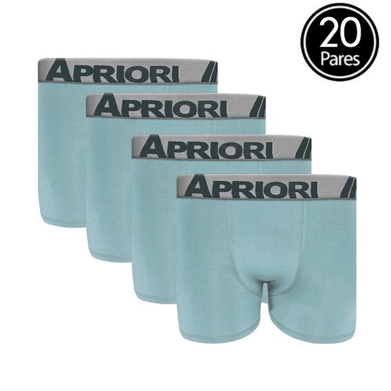 Kit 20 Cuecas Boxer Lisa Microfibra Verde Apriori C27