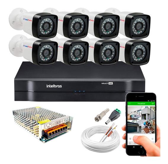 Kit Cftv 8 Camera Segurança Full Hd 1080p Dvr 1108 Intelbras
