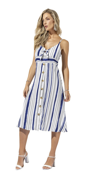 Vestido Midi Anele Em Viscose Rayon Alto Verão