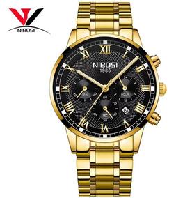Relógio Nibosi Original Dourado Azul Todo Funcional Promoção