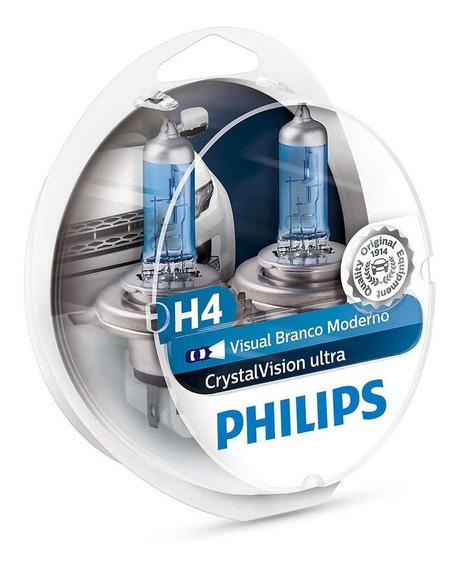 Par Lampada Philips H4 Crystal Vision Ultra 4300k + Pingos