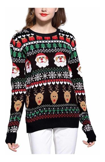 Suéter Navideño Mujer, Suéter Navidad Mujer Santas Renos