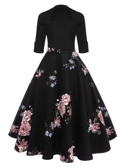 Elegante Vestido Casual Dama Algodón Flores Cómodo Elástico