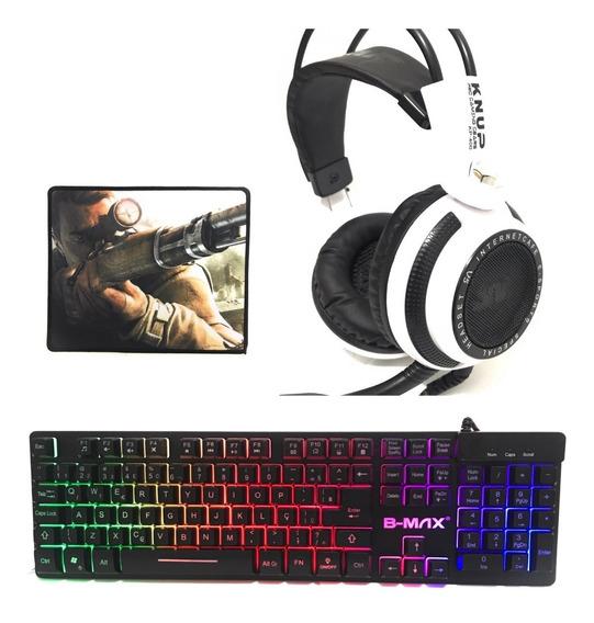 Kit Gamer Headset + Teclado + Grátis Mousepad Proplayer