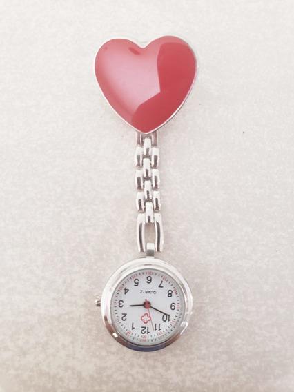Reloj Enfermera Plateado Corazon Rojo