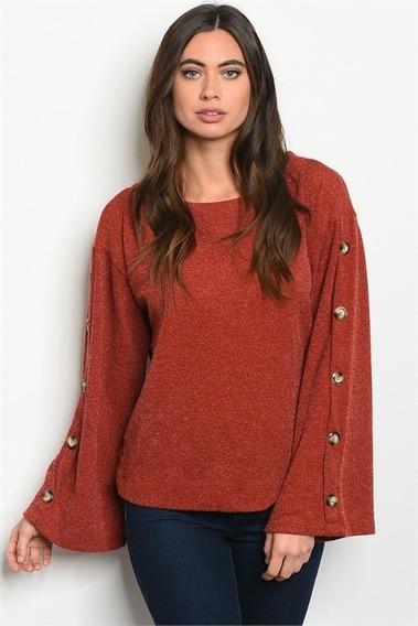 Sweater Color Ladrillo Importado De Usa