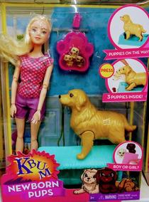 Boneca Estilo Barbie Newborn Pups - Com Cachorro E Filhotes