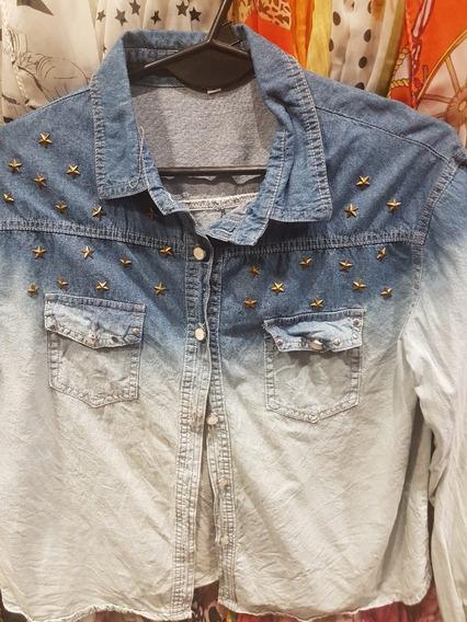 Camisa De Jean Con Desgaste Estrellas T M