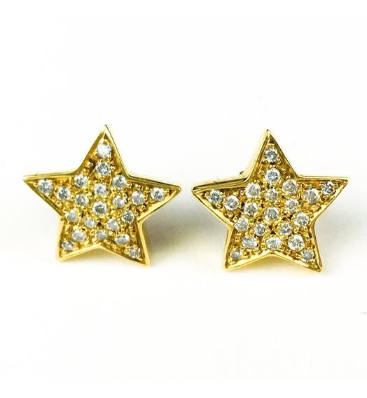 Brinco Feminino Ouro 18k Estrelas Com 42 Brilhantes + Porta Joias 1106