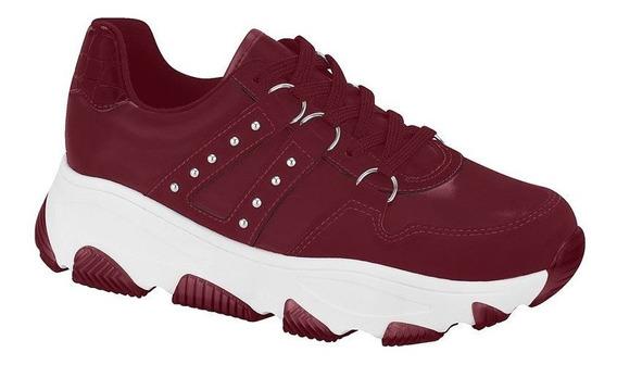 Tênis Feminino Sneaker Nobuck Argola Vinho Vizzano 1343101