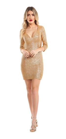 Vestido Curto Lala Dubi Justo Mini Paetê Dourado