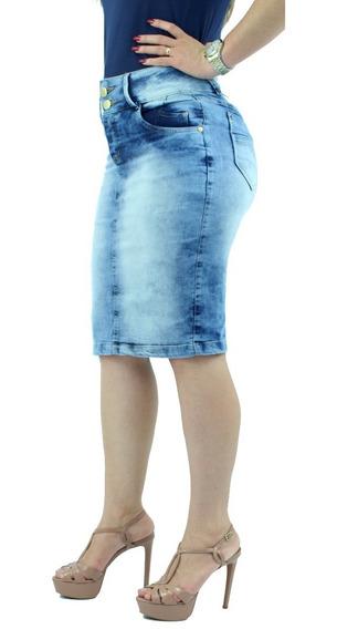 Saia Jeans Moda Evangélica Lycra Azul Claro Anagrom Ref 050