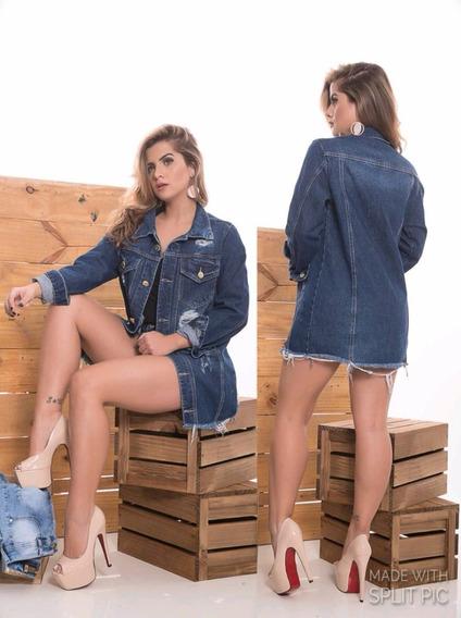 Kit2 Max Jaqueta Jeans Feminina Blusa Longa Parka Tendência