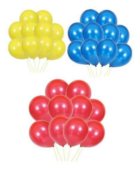 15 Globos Perlados Azul Rojo Y Amarillo 12 Pulgadas