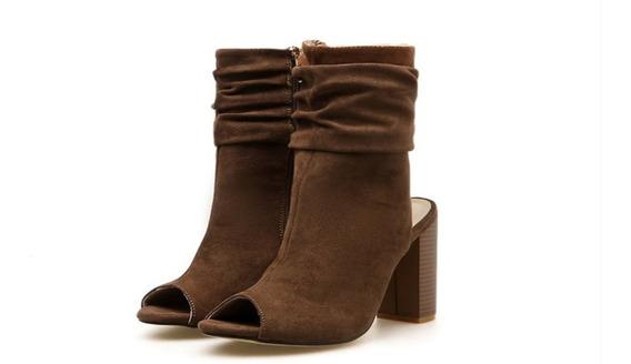 Zapato Sandalia Cafe Tacon Moda Mujer Primavera-verano