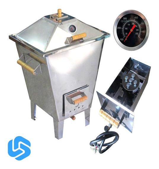 Churrasqueira Bafo Forno Defumador Inox 12kg Gás/carvão