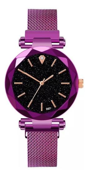 Relógio Feminino De Luxo Fivela Magnética Aço Inoxidável
