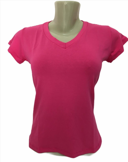 Camiseta Feminina Basica T-shirt Baby Look Gola V Blusinha