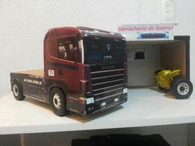 Miniatura De Caminhões Em Madeira (adesivados). Scania 144.